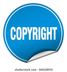 copyright round blue sticker isolated on white