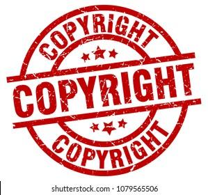 copyright round red grunge stamp