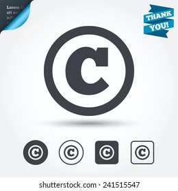Copyright sign icon. Copyright button. Circle and square buttons. Flat design set. Thank you ribbon. Vector