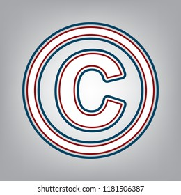 Copyright sign illustration. Vector. Dark red, transparent and midnight green stroke of white icon at grayish background.