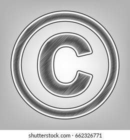 Copyright sign illustration. Vector. Pencil sketch imitation. Dark gray scribble icon with dark gray outer contour at gray background.
