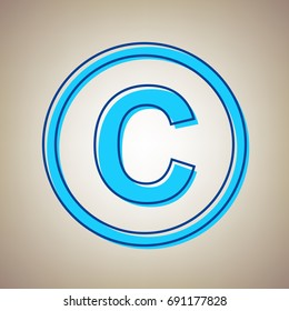 Copyright sign illustration. Vector. Sky blue icon with defected blue contour on beige background.