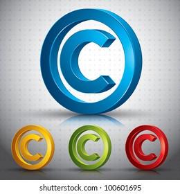 Copyright symbol 3d vector sign.