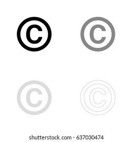 Copyright symbol in black, gray and line art. Vector illustration, easy to edit.