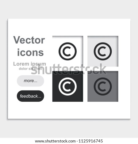 Copyright Symbol Flat Placed On Web Stock Vector Royalty Free