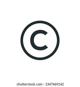 copyright symbol flat style