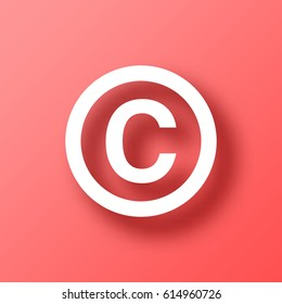 Copyright symbol isolated on red background with shadow. Vector illustration, easy to edit.  Template for your design, website, infographic, brochure, cover, business annual report,...