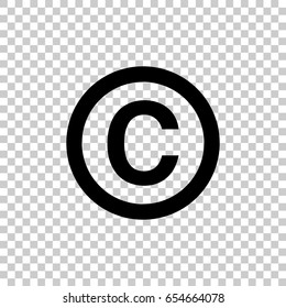 Copyright symbol isolated on transparent background. Black symbol for your design. Vector illustration, easy to edit.
