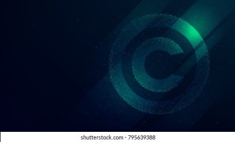 Copyright symbol, protection of intellectual property, future technology illustration