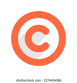 The copyright symbol, or copyright sign, letter C in circle in flat long drop shadow style. The graphic element for design saved as an vector illustration in file format EPS