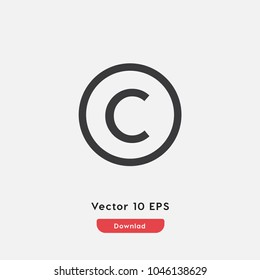Copyright vector icon. C symbol. Best modern flat pictogram illustration sign for web and mobile apps design