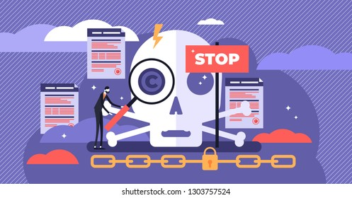 Copyright vector illustration. Flat tiny legal author work persons concept. Intellectual property patent protection sign. Creative ownership against piracy crime. Stop plagiarism and warning sign.