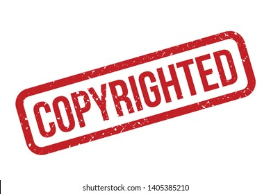 Copyrighted rubber stamp. Red Copyrighted rubber grunge stamp vector illustration - Vector