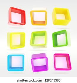 Copyspace cube square colorful shelf app boxes in nine foreshortenings, eps10 vector design elements set