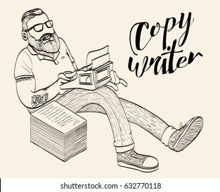 Copywriter, blogger, journalist. Doodle vector illustration of a hipster man with beard, tattoos and glasses typing on a typewriter creating content, writing an article for blog. Line art drawing.