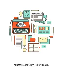 Copywriter, blogger and journalist work tools, thin line objects in a circular shape on white background