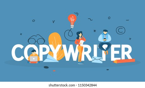 Copywriter concept. Writing creative article in blog. Social media promotion. Freelance work. Flat vector illustration