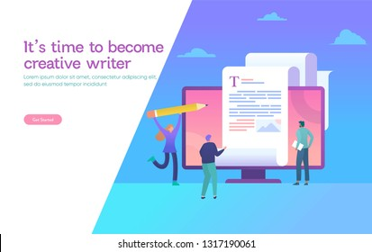 copywriter, copywriting  vector illustration concept, freelance blogger writing on blank paper and work with laptop and pencil, can use for, landing page, template, ui, web, homepage, poster, banner,