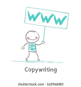 Copywriter holding a sign saying