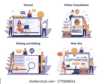 Copywriter online service or platform set. Idea of writing texts, creativity and promotion. Online tutorial, consultation, web site, writing and editing application. Vector illustration