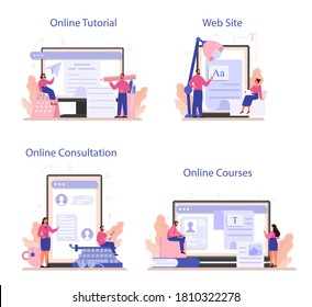 Copywriter online service or platform set. Idea of writing texts, creativity and promotion. Making valuable content for ad. Online consultation, tutorial, course, website. Vector illustration
