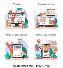 Copywriter online service or platform set. Writing and designing texts for business promotion or press release. Online consultation, spell and uniqueness checking, website. Vector flat illustration