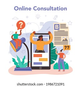Copywriter online service or platform. Writing and designing texts for business promotion or press release. Online consultation. Vector flat illustration