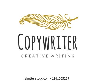 Copywriter vector logo. Writer quill logotype. Creative writing, storytelling, copy writing concept icon, isolated on white