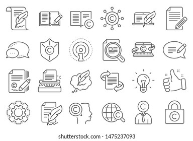 Copywriting book line icons. Set of Copyright protection, Signature and Feedback icons. Typewriter, Idea and message copywriting. Write book, legal copyright, content author. Light bulb. Vector