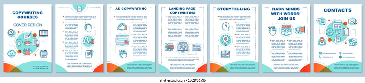 Copywriting brochure template. Advertising texts writing, storytelling. Content creation. Flyer, booklet, leaflet print design. Vector page layouts for magazines, annual reports, advertising posters