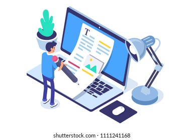 Copywriting concept banner with character. Can use for web banner, infographics, hero images. Flat isometric vector illustration isolated on white background.