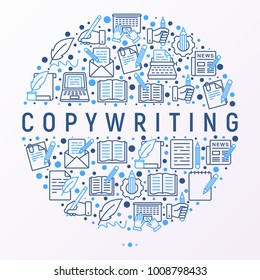 Copywriting concept in circle with thin line icons: letter, e-mail, book, blogging, hand with pen, feather, typewriter, article, seo. Modern vector illustration for web page template, banner.