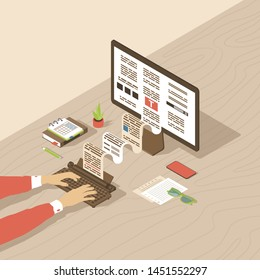 Copywriting, content creation isometric illustration. Editor, copywriter, book author typing text with typewriter. Blog article, essay writing, storytelling 3d concept. Freelance copywriter workplace