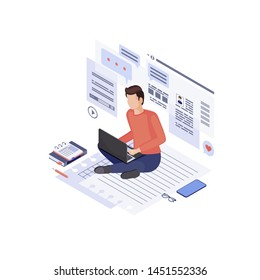 Copywriting & content marketing isometric illustration. Home based copywriter, content writer, freelancer. SMM manager, digital marketer create advertising post. Blogging, article writing 3d concept