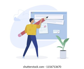 Copywriting, creative writing,content creating concept. Blogger character. Flat isometric vector illustration isolated on white background.