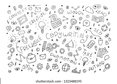Copywriting doodle outline vector abstract illustration. Set of business elements, content, words, lead, SEO, SMM, author, promotion, creative, text, freelance