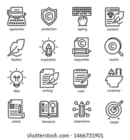 Copywriting icon set, social media and business. Creative freelance and blogger. Vector line art illustration copywriting on white background