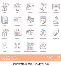 Copywriting icons including client, CMS, collateral, content marketing, conversion, copy length, copywriter, deadline, decision maker, demographics, tag, desire, differentiation, direct response.