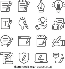 Copywriting icons set vector illustration. Contains such icon as content, writing, ideation, storytelling, editing and more. Expanded Stroke