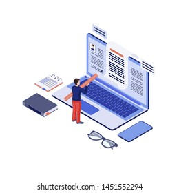 Copywriting isometric vector illustration. Copywriter, content writer creating, writing blog article, essay. Social media marketing, blogging 3d concept. Storytelling. Freelance author, editor