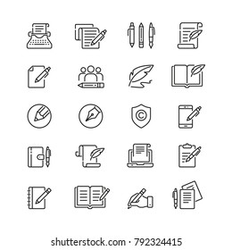 Copywriting related icons: thin vector icon set, black and white kit