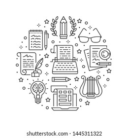Copywriting vector circle banner flat line icons. Writer typing text, social media content, creative idea, typewriter illustrations. Thin signs storytelling workshop poster isolated white background.