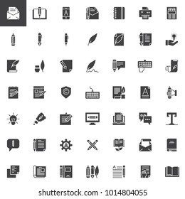Copywriting vector icons set, modern solid symbol collection, filled style pictogram pack. Writer, blogging signs, logo illustration. Set includes icons as letter, notebook, pen, pencil, feather