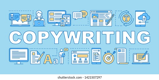 Copywriting word concepts banner. Contextual ads. Advertisement creation. Presentation, website. Isolated lettering typography idea with linear icons. Vector outline illustration