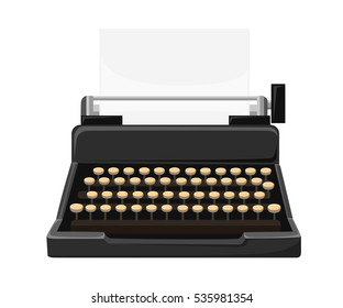 Copywriting.Retro typewriter with paper sheet Workplace with typewriter. Flat design.Writing a blog