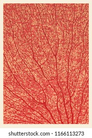 Coral Abstract Background. Hand Drawn Texture. Vector Illustration.
