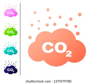 Coral CO2 emissions in cloud icon isolated on white background. Carbon dioxide formula symbol, smog pollution concept, environment concept. Set color icons. Vector Illustration