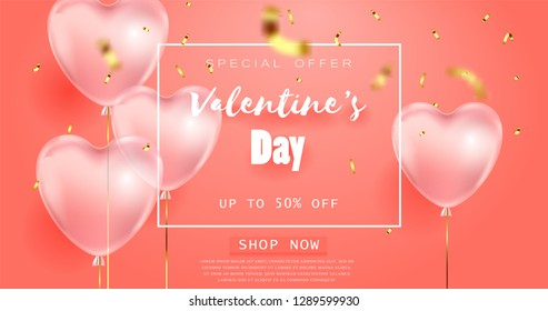 coral color background, beautiful realistic 3D balloons in the shape of a heart and confetti, a voucher, advertising discounts, a website banner for Valentine's Day.