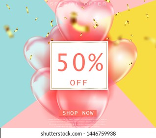 coral color background, beautiful realistic 3D balloons in the shape of a heart and confetti, a voucher, advertising discounts, a website banner for sale 50% off