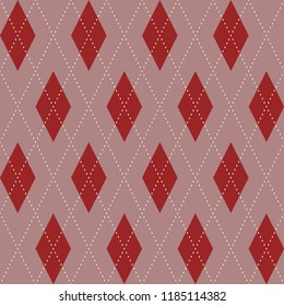 Coral color Christmas argyle ornament. Powdery pink traditional design. Seamless small red dimond motif for gift wrapping, flyers, banners, fabric textile. Decorative print block. Vector illustration.
